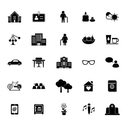 retirement community: Retirement community icons on white background, stock vector Illustration