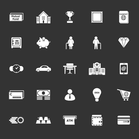 Persoonlijke financiële pictogrammen op grijze achtergrond, stock vector Vector Illustratie