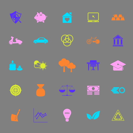 sufficient: Sufficient economy color icons on gray background, stock vector