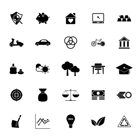 enough: Sufficient economy icons on white background, stock vector Illustration