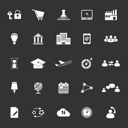 Business connection icons on gray background, stock vector Illustration