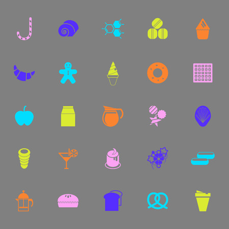 eclair: Sweet food color icons on gray background, stock vector Illustration