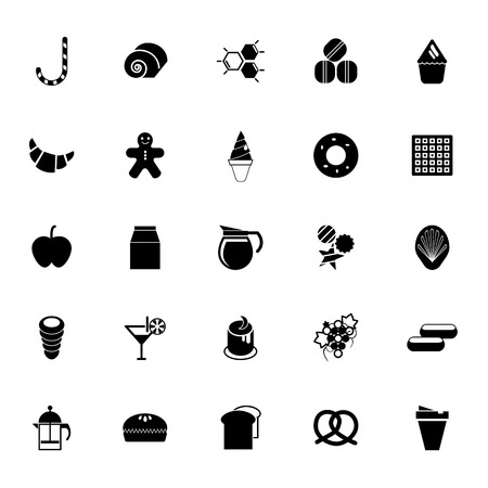 eclair: Sweet food icons on white background, stock vector