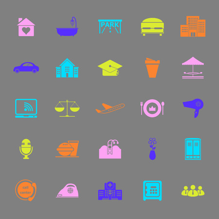 clientele: Hospitality business color icons on gray background, stock vector