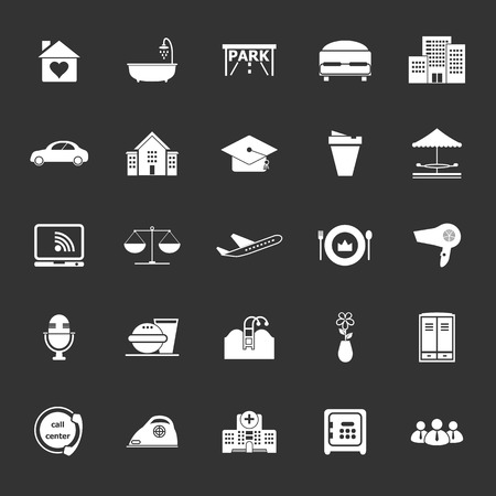 Hospitality business icons on gray background, stock vector