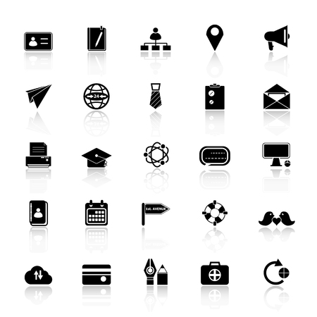 web address: Contact connection icons with reflect on white background, stock vector Illustration