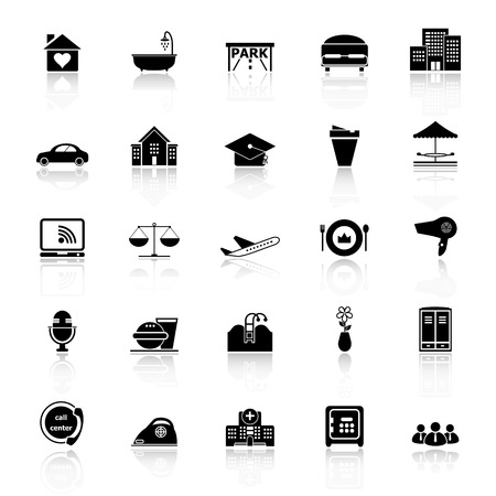 clientele: Hospitality business icons with reflect on white background, stock vector