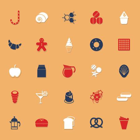 甘い食べ物: 影、株式ベクトルと甘い食べ物古典的な色のアイコン