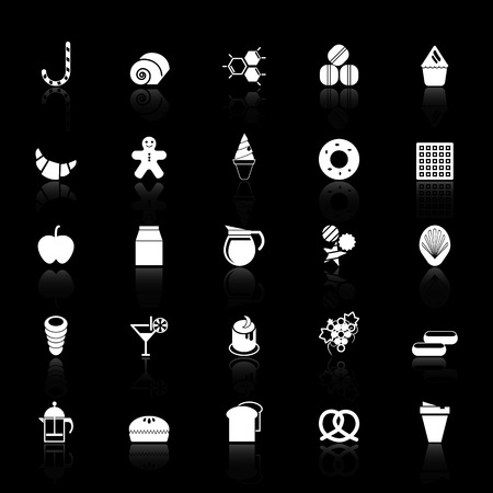eclair: Sweet food icons with reflect on black background, stock vector