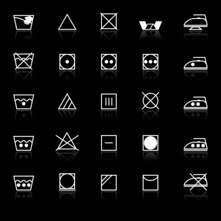 deterioration: Fabric care sign and symbol icons with reflect on black background, stock vector