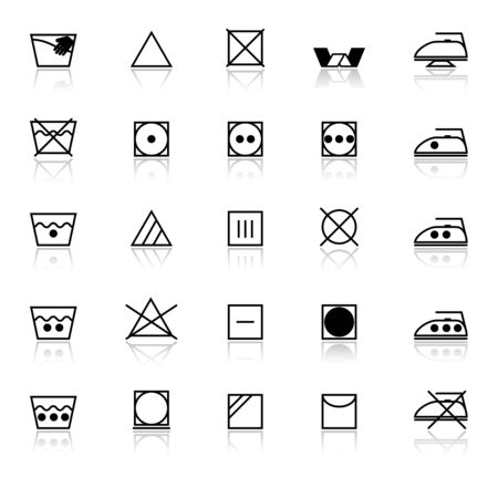 Fabric care sign and symbol icons with reflect on white background, stock vector