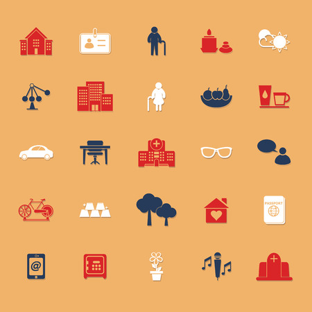 retirement community: Retirement community flat icons with shadow, stock vector