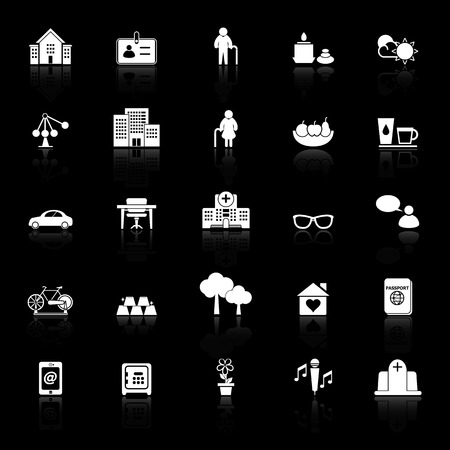 retirement community: Retirement community icons with reflect on black background, stock vector
