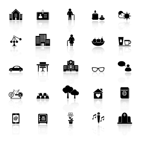 Retirement community icons with reflect on white background, stock vector