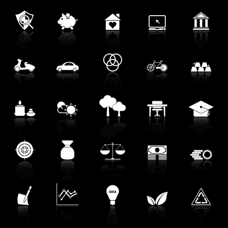 sufficient: Sufficient economy icons with reflect on black background, stock vector
