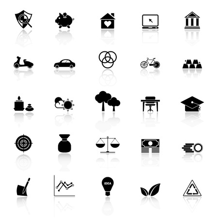 sufficient: Sufficient economy icons with reflect on white background, stock vector