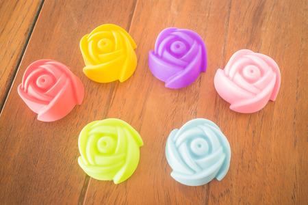 gelatin: Rose shape of gelatin print on vintage background, stock photo