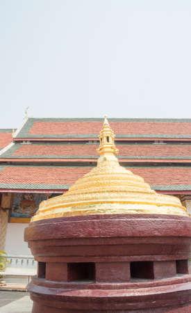 buddism: Mount meru model at buddism temple in Lamphun, Thailand Stock Photo