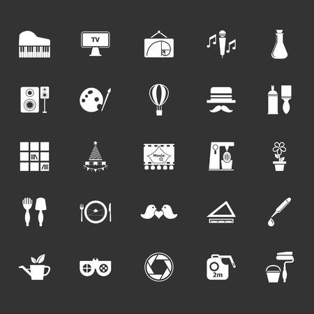 art activity: Art activity icons on gray background, stock vector