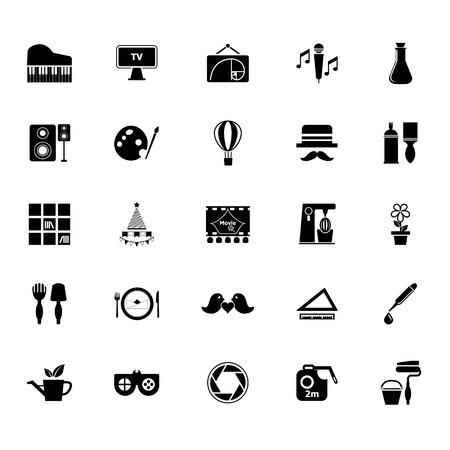 art activity: Art activity icons on white background, stock vector