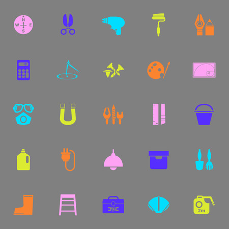 diy tool: DIY tool color icons on gray background, stock vector