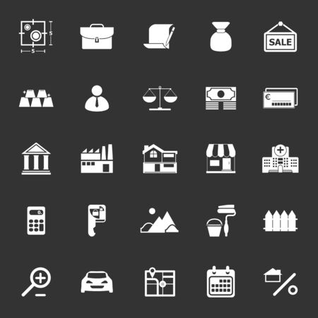 home loan: Mortgage and home loan icons on gray background, stock vector
