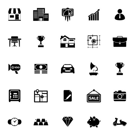 Asset- und Property-Symbole auf weißem Hintergrund, Vektorgrafik Vektorgrafik