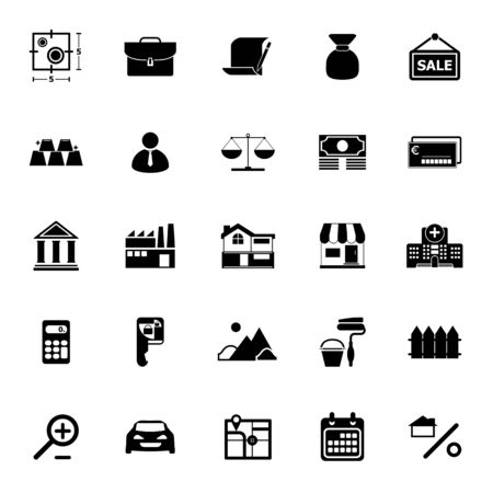valuation: Mortgage and home loan icons on white background, stock vector Illustration