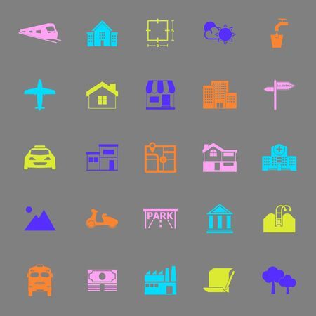 monorail: Real estate color icons on gray background, stock vector Illustration