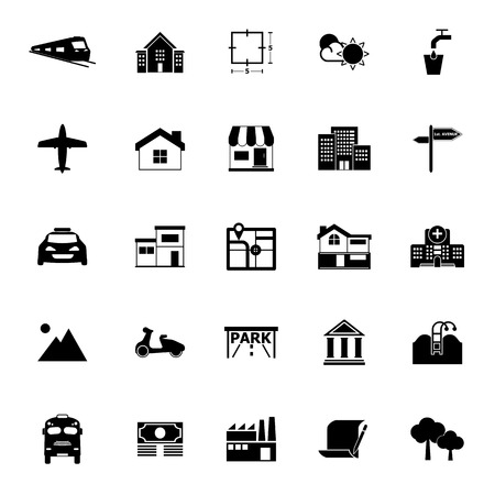 valuation: Real estate icons on white background, stock vector