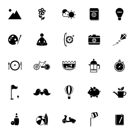 activity icon: Slow life activity icons on white background, stock vector Illustration