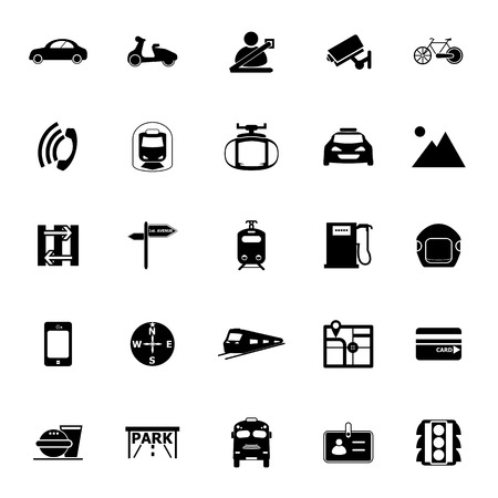 land transport: Land transport related icons on white background, stock vector