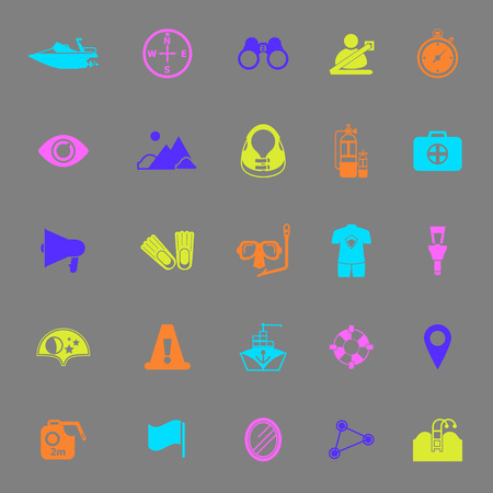 waterway: Waterway related color icons on gray background, stock vector Illustration