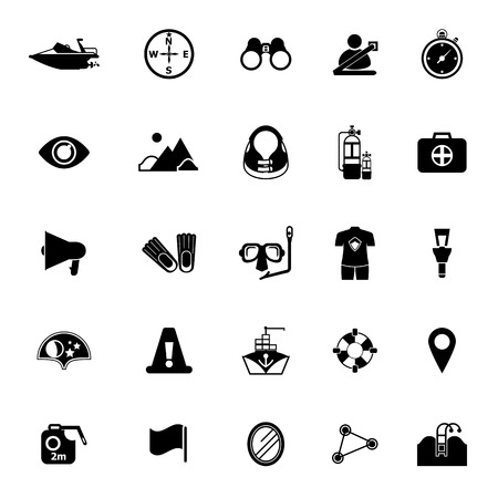 waterway: Waterway related icons on white background, stock vector