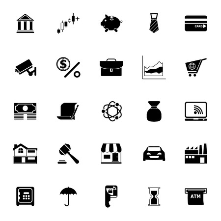 Banking and financial icons on white background, stock vector