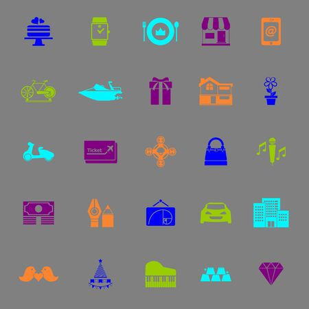 high society: Birthday gift color icons on gray background, stock vector