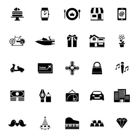 high society: Birthday gift icons on white background, stock vector