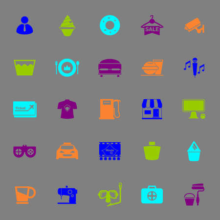 roomservice: Franchisee business color icons on gray background, stock vector