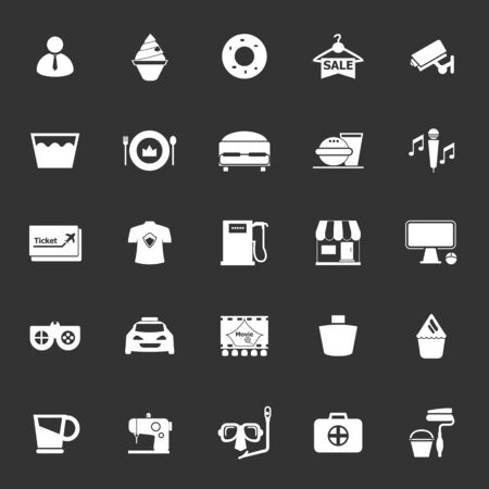 roomservice: Franchisee business icons on gray background, stock vector