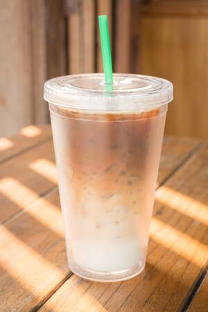 double glass: Double wall glass of iced coffee latte, stock photo Stock Photo