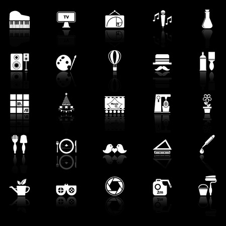 art activity: Art activity icons with reflect on black background, stock vector