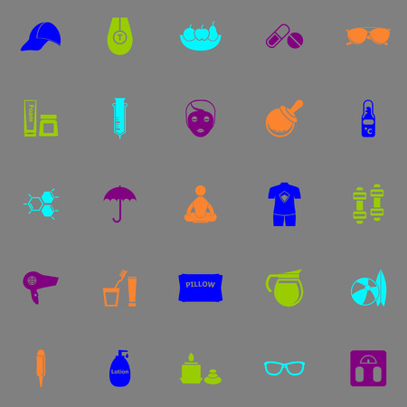 body treatment: Facial and body treatment fluorescent color icons, stock vector