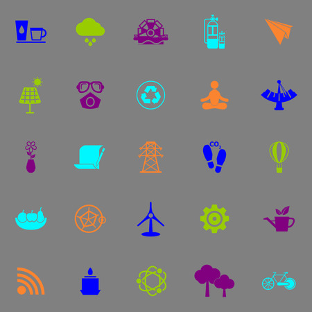 Clean concept icons fluorescent color on gray background, stock vector Vector