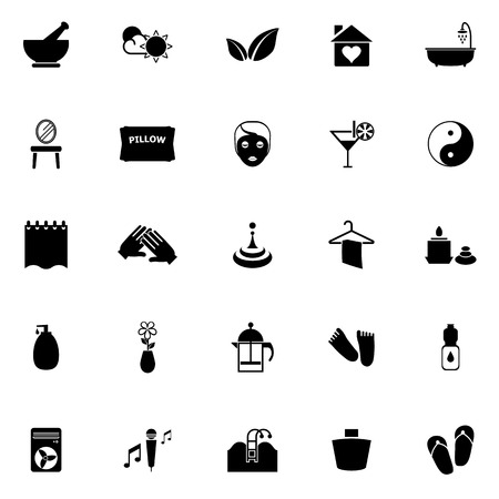 massage stones: Massage icons on white background, stock vector