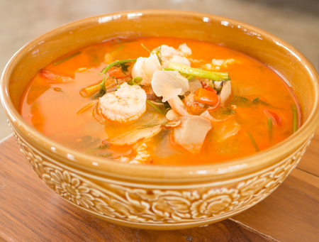 gung: Tom Yum Kung thai spicy seafood soup