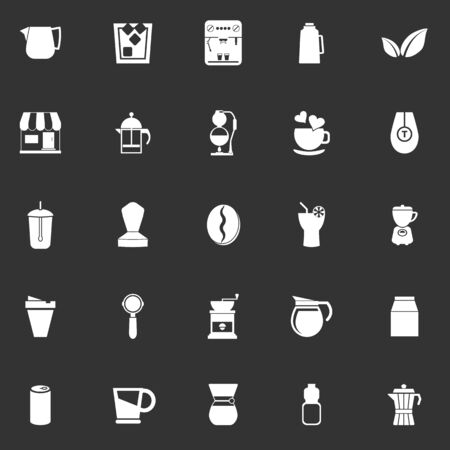 tea basket: Coffee and tea icons on gray background stock vector
