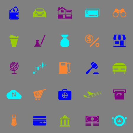 e wallet: E wallet icons fluorescent color on gray background stock vector Stock Photo