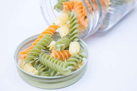 fusilli: Multicolor fusilli prepare for pasta cuisine stock photo