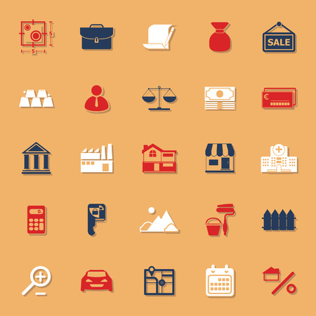 home loan: Mortgage and home loan classic color icons with shadow, stock vector