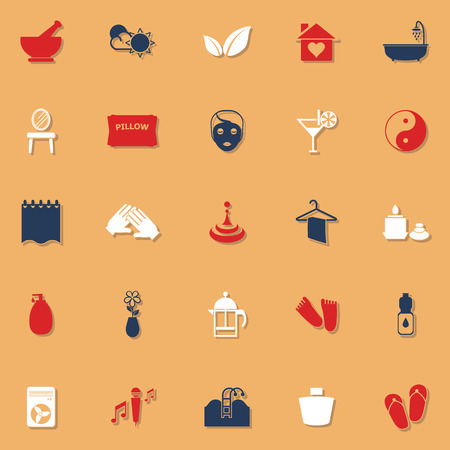 well being: Massage classic color icons with shadow, stock vector Illustration